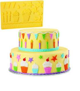 Original Wilton New Silicone Mold, Party kids design, candles, cupcakes, party hats, border, stars, cherry, buntings, fondant, gumpaste, clay, cake cookie decorating,