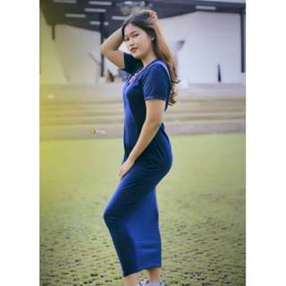 Plaint Maxy Dress Wanita Cewek Warna Hitam Maroon Navy