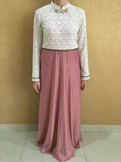 Lace pink rose long dress