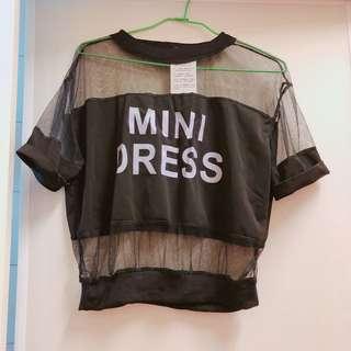 🚚 二手 全新 小心機透視紗T恤