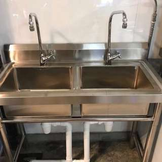 Commercial Kitchen Double Sink Double Tap for F&B