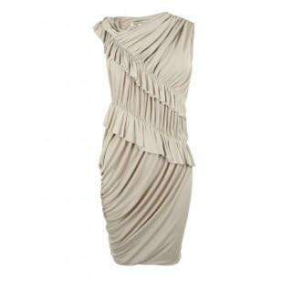 All Saints Ruffles Bodycon beige oyster white dress