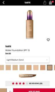 Tarte Water Foundation SPF 15 (PRICE REDUCED)