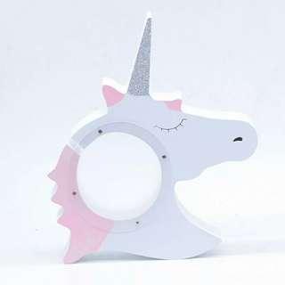 P.O. piggy bank. unicorn