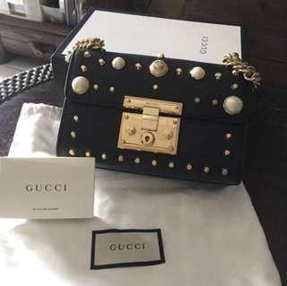 Gucci Padlock Studded Shoulder Bag