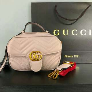 Gucci GG Marmont Sling Bag with Canvas Strap Dusty Pink Color