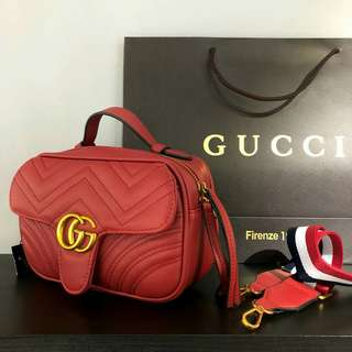 Gucci GG Marmont Sling Bag with Canvas Strap Red Color