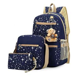 Free Shipping Promotion-15-25 Days Shipping Time for Women Bags Backpack School 3 Pieces Set