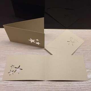 🚚 淺棕色星星鏤空空白卡(5pcs/set)