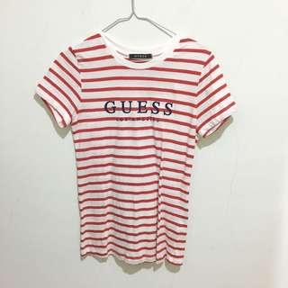 🚚 Guess 紅白條紋 Logo Tee