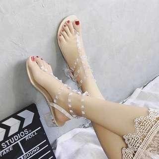 🚚 透明卯釘水晶跟透明夾腳涼鞋