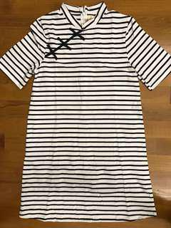 Elly Navy Blue Striped Ladies Dress