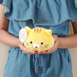 Yellow soft and squishy rolling cat plush. Authentic from Japan. 15CM