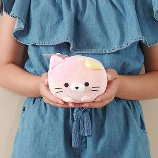 Pink soft and squishy rolling cat plush. Authentic from Japan. 15CM