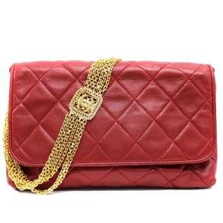 Vintage Chanel紅色羊皮菱格金鏈chain bag 20x15x7cm
