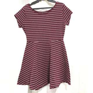 Cotton On Marroon and White Stripes Dress