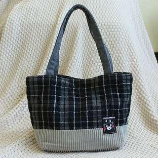 日本 熊本熊 灰色 格紋 氈毛托特包 毛氈單肩包 手提包 手提袋 購物袋