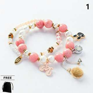 Handmade 2-in-1 Colourful Beads Charms Bracelets