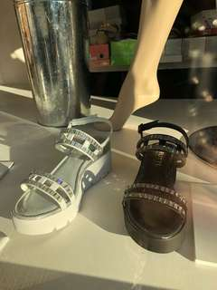 Black chunky Italian leather sandal