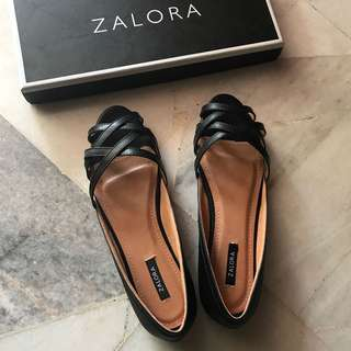 Zalora weave strap ballerinas shoes black 39 us