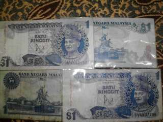 Wang kertas RM 1 4keping nak jual sebab perlu kan duir