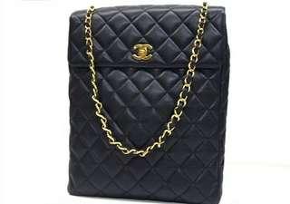 Vintage Chanel海軍藍魚子醬菱格金扣shoulder bag 28x36x8cm