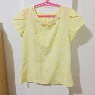 Pastel Yellow Floral Top