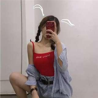 🚚 2018新款cherry bomb字母刺繡細肩背心
