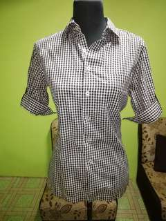 Checkered Black and White Blouse