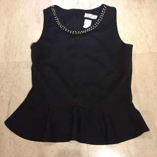 Black peplum beaded top