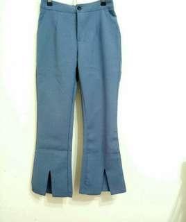 《全新》韓版西裝感小開衩長褲鬆緊腰S. M🉑褲長:89cm