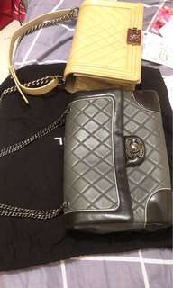Chanel black and grey , silver line , seasonal items, lambskin, 29cm , with dust bag tag but lost card and I will provide you the receipt, invoice