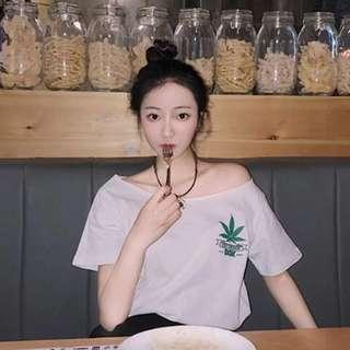 🚚 韓版寬鬆一字領露肩斜肩大麻T