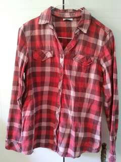 Columbia plaid button up shirt, size small