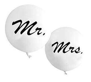 Mr and Mrs Bridal 3ft Latex Balloon