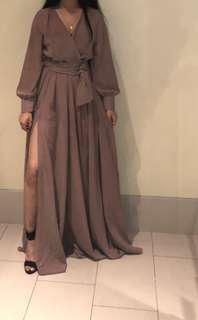 Beige dress with slit