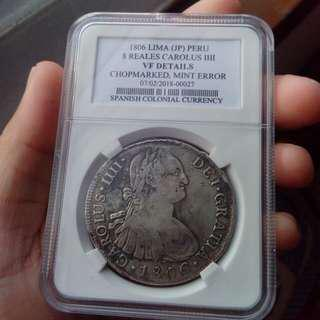"""Carolus IIII Lima 8 Reales 1806 """"Error"""""""