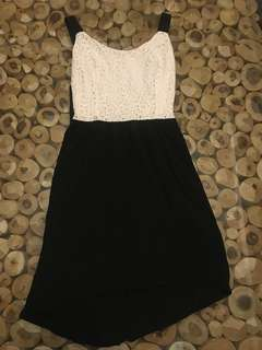Mango white lace top black skirt dress