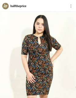 Htp Black V-neck printed dress