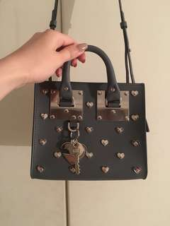Sophie Hulme Limited Edition x Lane Crawford exclusive Albion Square grey silver studded hearts leather bag