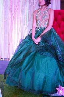EMERALD GREEN DEBUT or PROM BALL GOWN FOR RENT