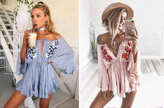 Blue romper playsuit
