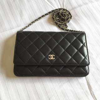 CHANEL Wallet on Chain (WOC) Black LambSkin with Silver Hardware