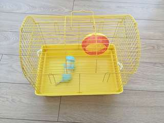 Hamster Cage with Small Wheel and Water Bottle