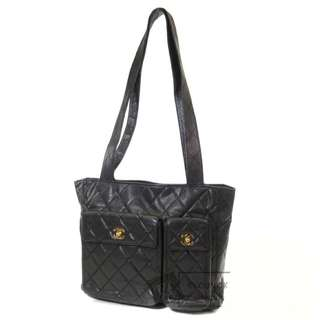 Vintage Chanel黑色魚子醬菱格金扣Tote bag 31x27x7cm