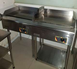Commercial electric griller with stands.