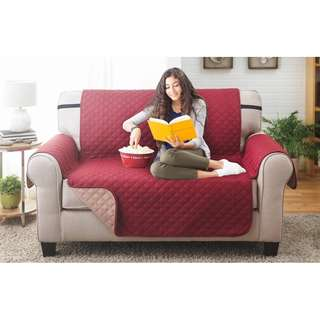 Water-resistant Quilted Reversible Love Seat Cover (Burgundy/Natural)