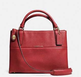 AUTHENTIC NEW COACH SMALL TURNLOCK BOROUGH BAG IN PEBBLED LEATHER 33732 <<RED CURRANT>>