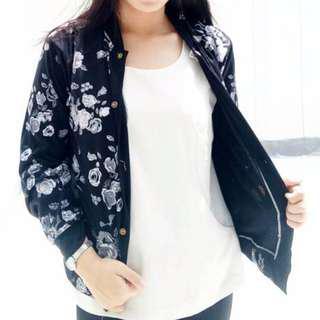 Atasan Jaket Wanita cewek Trendi Motif Bunga Full Kancing