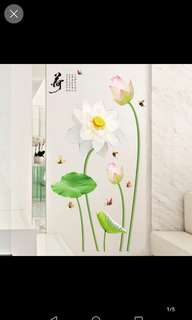 Lotus flower wall sticker living room warm wall stickers bedroom self-adhesive wallpaper room wall wall decoration